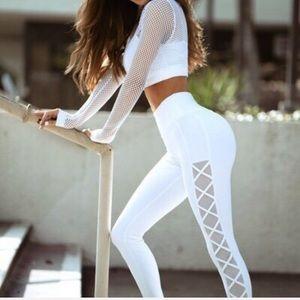 Jolie | Side Mesh Work Out Leggings | White